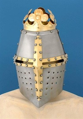 Great helm with brass cross and crown